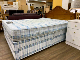 Double Divan Base With 4 drawers and mattress including headboard