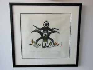 Art4u2enjoy 1968 Estampe de Lucy Qinnuayuak artiste Inuit Mtl