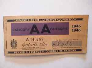 Rare Canada Gasoline Licence and Ration Coupon Book, 1945-1946