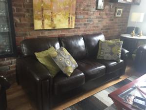 mobilier 3 morceaux  de salon en cuir véritable