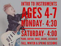 INTRO TO MUSIC ages 4-7 - play piano, guitar, voice, drums, etc.