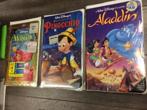 disney pinochio little mermaid et aladdin vhs neuf emballées