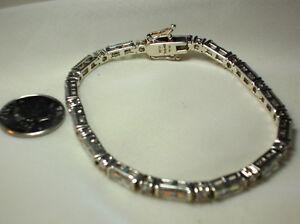 925 4mm Baguette & Round-Cut Crystal Tennis Bracelet