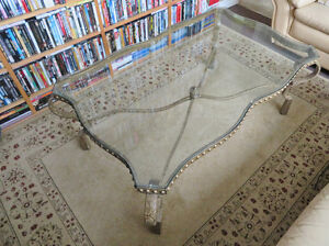 Large Size Glass and Metal Coffee Table