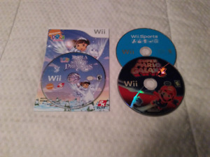Loose Wii games (Mario Galaxy, Wii Sports & Dora)