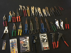LOTS OF HAND TOOLS-- Clamps, Vise, Snips, Cutters, Etc