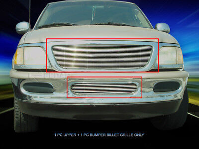 Polished Billet Grille Front Grill Combo Fits 1997-1998 Ford -