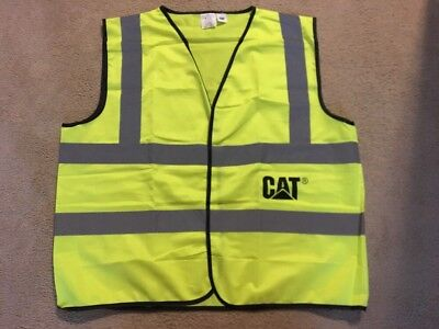 Cat Mens Yellow Construction Reflective Safety Work Vest Size Xxl