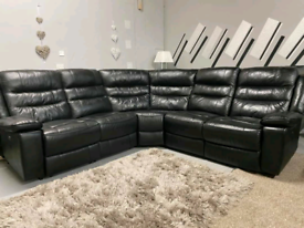 Beautiful black electric recliner SCS corner sofa