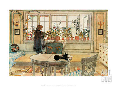 The Flower Window Architecture Art Poster Print by Carl Larsson, 15.5x12