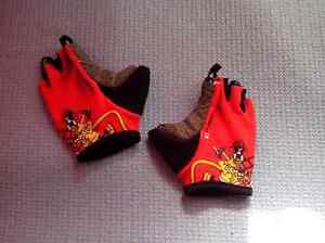 Kids ERGO red fireman design fingerless bike gloves - size 2T
