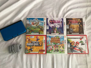 NINTENDO 3DS XL AND 6 GAMES