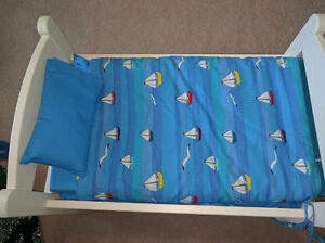 Maplelea doll bedding (sailboat) and doll bed