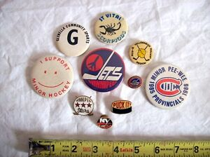 WPG. JETS~NY ISLANDERS~WPG.STARS~10 LOCAL SPORTS PINS & BUTTONS