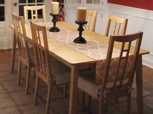 Lovely Modern IKEA Extendable DINING TABLE +6 CHAIRS Oak Coloured Burwood East Whitehorse Area Preview