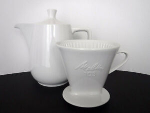 VINTAGE MELITTA PORCELAIN POUR OVER COFFEE POT & CONE 103 LARGE