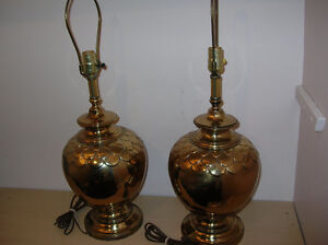 Lamp Pair Electric Metal Golden color 27 inch high