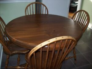 maple dinning room table and 4 chairs, hedge trimmer , leaf