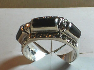 Antique Marcasite Studded Bezel-Set Onyx - Sterling Silver Ring