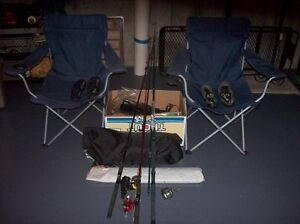 Tent, camping equip, 4 fishing rods / reels / 2 folding chairs