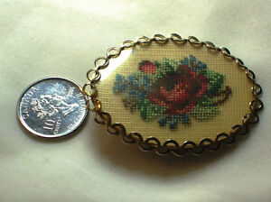 Vintage Gold Tone Braided Floral Embroidery Brooch Rose