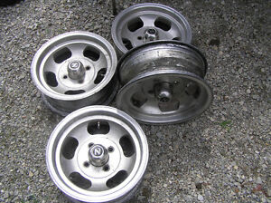 DATSUN 240Z ALUMINUM SLOT RIMS with CENTER CAPS