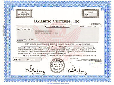 Ballistic Ventures   River Capital Group Reinsurance Company Stock Certificate