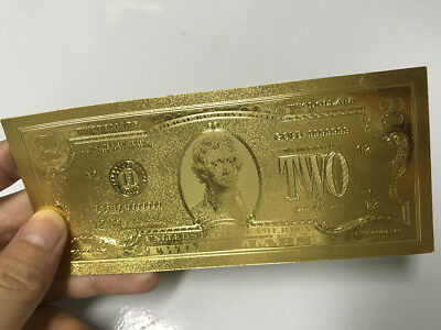 WR US $2 Gold Foil Banknote Golden Money Bill Collection Big Sales Business Gift