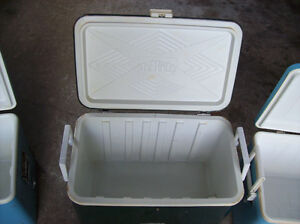 VINTAGE COLEMAN THERMOS METAL CAMPING COOLERS