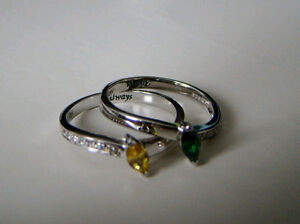 EMERALD AND CITRINE RINGS 925 SILVER