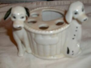 Vintage Dalmatian Toothbrush and Paste Holder