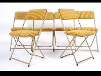 A set of retro 1970's mid century folding conference hall chairs Lafuma