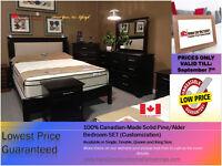 ◆ 100% Canadian-Made Customized Solid Pine/Alder Bedroom SET!◆