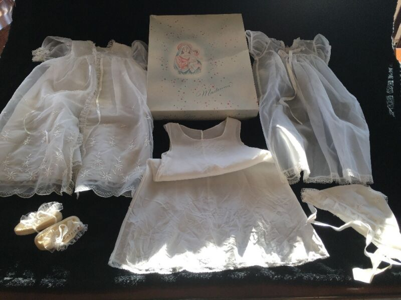 Vintage Madonna Baby Girl Christening Baptism Complete 5 Piece Outfit w/ Box