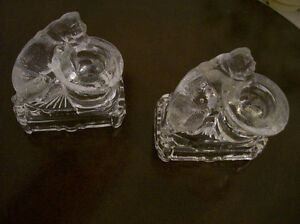 Pair of Antique Glass Dogs with Hats