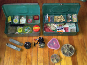 Huge Lot of Vintage Fishing Supplies Tackle Boxes Lures Flies