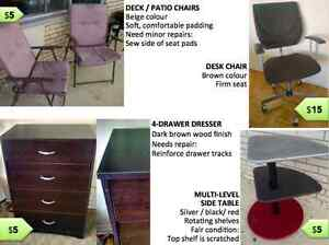 LAST CHANCE! Moving sale -- desk chair, side table, patio chairs