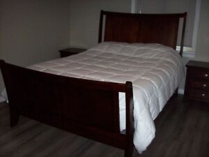 Queen bed, box springs & two night tables