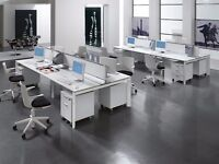 BRAND NEW - BENCH DESKS IN WHITE WITH SILVER FRAMES - 1400MM X 700MM PER PERSON - 10 YR GUARANTEE