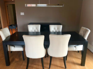 Stylish Leather & Solid Wood Dining Room Set