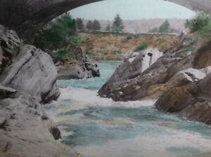 """Hugh Cummings """"Sauble River And Bridge"""" 1900's Hand Colored Phot Stratford Kitchener Area image 3"""
