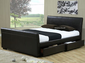kingsize black faux leather double bed with drawers and mattress brand new boxed