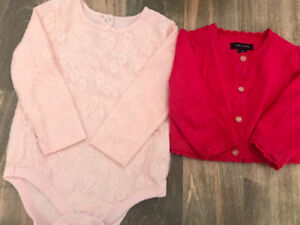 Baby Girls lace top and hot pink Tommy cardigan 12-18 months