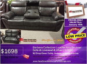 ◆STOCK CLEARANCE! Brand New 3PCs Gel Leather Recliner Set@ND