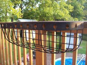 Outdoor ornamental steel planter baskets (pair)