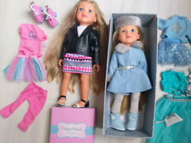 Designa Friend Dolls, 6 outfits, shoes, boots, rollerskates