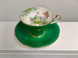 Rare Aynsley Green and Floral Tea Cup and Saucer
