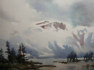 "Winter Mountain,George Alig ""November Chill"" Original Watercolor Stratford Kitchener Area image 2"