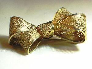 925 PORTUGAL Gold Plate Filigree Scroll Bow Brooch