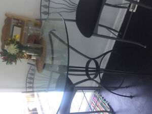Glass top bar table with 2 chairs $150 OBO